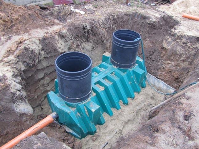 Обсупка септика Танк-3 цементно-песчаной смесью
