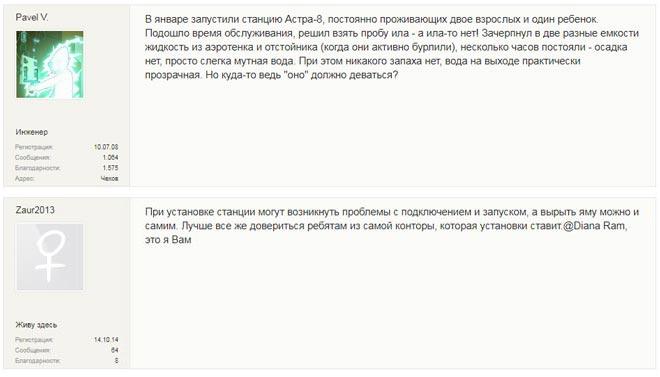 Отзывы о септика Астра