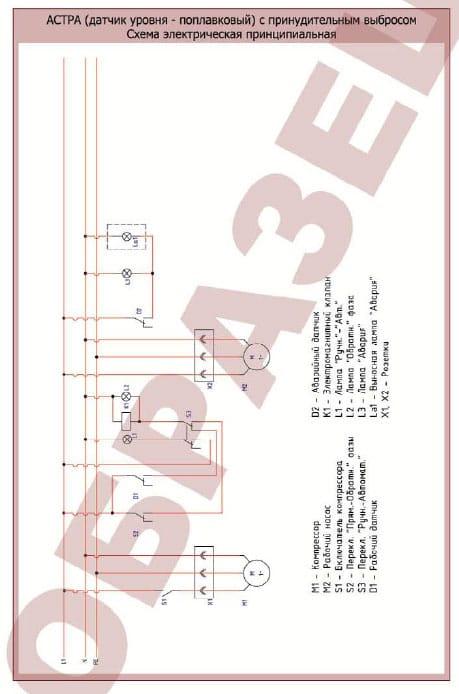 Схема электрическая принципиальная для станций Юнилос Астра с принудительным выбросом