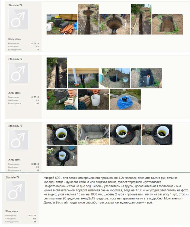 Отзыв с фотоотчетом о процессе монтажа септика Микроб