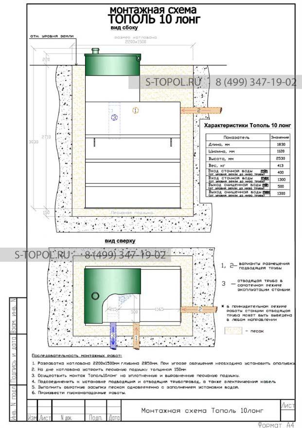 Монтажная схема установки станции Тополь 10 long